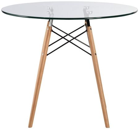 EdgeMod Vortex Collection Dining Table with Tempered Glass Top, Non Marking Foot Caps, Tapered Legs, Ash Wood and Metal Base in Natural Finish