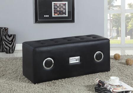 """Acme Furniture Laila Collection 38"""" Sound Lounge Bench with Bluetooth Speaker, 5V Voltage Input, Button Tufted Seat, Rectangular Shape and PU Leather Upholstery"""
