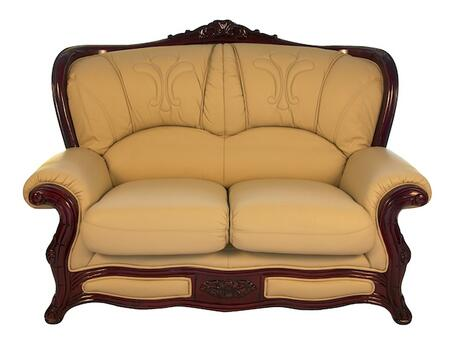 J. Horn 989IVORYL 988 Series Leather Stationary with Wood Frame Loveseat
