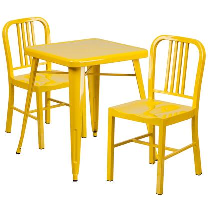 Flash Furniture CH31330218GG Metal Indoor-Outdoor Table Set with 2 Vertical Slat Back Chairs
