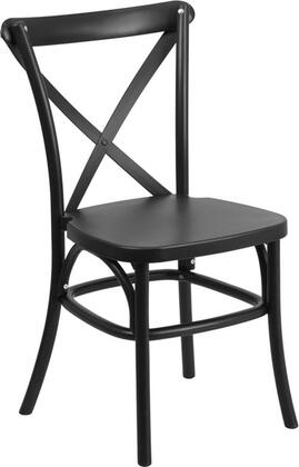 """Flash Furniture Hercules Collection 34"""" Indoor-Outdoor Stackable Bistro Chair with Cross Back Design, Metal Core Leg Tubing and UV Protected Virgin Polypropylene Material in"""