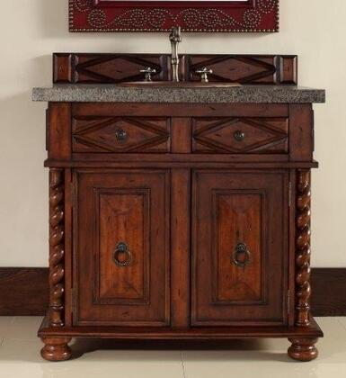 """James Martin Continental 36"""" Single Vanity with 2 Doors, 2 Drawers, 1 Sink Included, Antique Brass Hardware, Granite Top, Cherry and Birch Materials in Burnished Cherry Finish"""