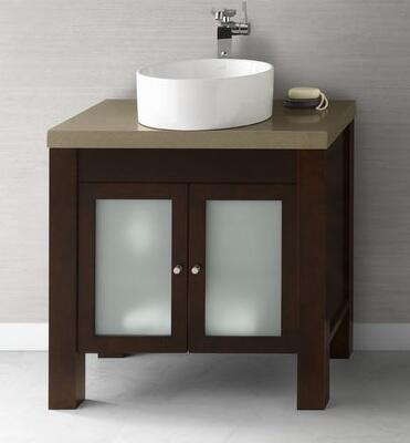 """Ronbow 032531-1-F Devon 31"""" Wood Vanity Cabinet with Double Frosted Glass Door and Adjustable Shelf:"""