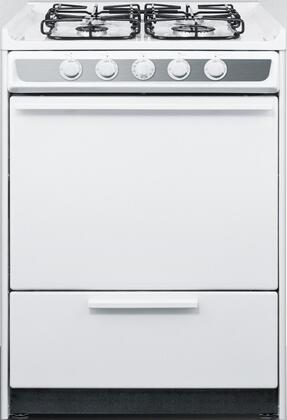 "Summit WTM6107SxRT 24"" Freestanding Gas Range with 4 Sealed Burners, 2.92 cu. ft. Oven Capacity, Porcelain Construction, Broiler Compartment, Stainless Steel Manifold and 2 Oven Racks, in White"