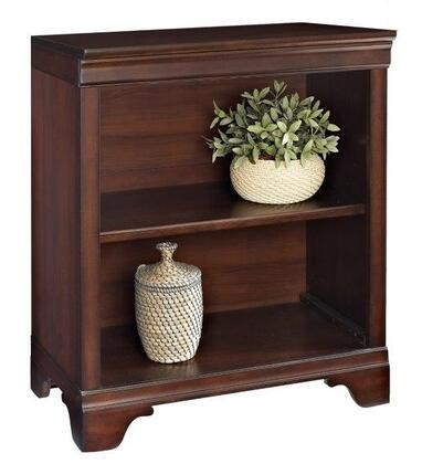 Turnkey Products Belcourt ER-BLC-OBKXX-D X-Shelf Bookcase with Molding Details, Fully Finished Side and Back Panels, and Constructed with Wood Veneers in Cherry Finish