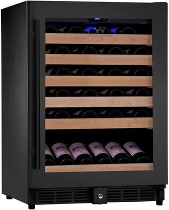"""KingsBottle KBU- 24"""" 1 Temperature Zone Wine Cooler with x Bottle, Warp Resistant Beech Wood Shelves and Door Lock: Glass Door in Black"""