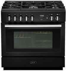 AGA APRO36DFBNBLK PRO Plus Series Dual Fuel Freestanding Range with Sealed Burner Cooktop, 4.9 cu. ft. Primary Oven Capacity, Storage in Black