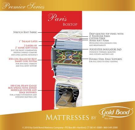 "Gold Bond 522 Premier Series 20"" High Paris X Size Box Top Mattress"