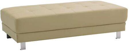 "Glory Furniture Milan Collection 57"" Ottoman with Tufted Design, Chrome Metal Legs and Faux Leather Upholstery in"