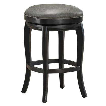 American Heritage 1111XC Madrid Series Stool with Black Wooden Frame and Bonded Leather Cushion in Charcoal