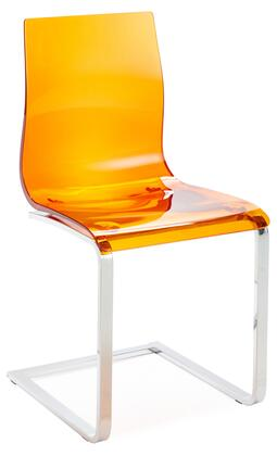 Domitalia GEL/SL-C FV-S Gel Dining Room Chair with Chrome Lacquered Steel Frame and Acryl Nitrile Styrene Shell in