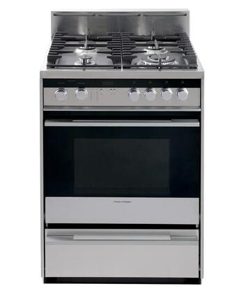 Fisher Paykel OR24SDMBGX1 Pro-Style Series Gas Freestanding Range with Sealed Burner Cooktop, 2.5 cu. ft. Primary Oven Capacity, Storage in Stainless Steel