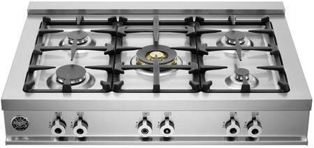 """Bertazzoni CB36500X 36"""" Pro-Style Gas Rangetop with 5 Sealed Burners, 18,000 BTU Brass Power Burner, Continuous Grates, Electronic Ignition and Island Trim"""