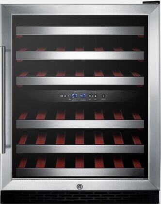 """Summit SWC530LBISTxADA 24"""" ADA Compliant Freestanding or Built-In Dual Zone Wine Cooler with 46 Bottle Capacity, Automatic Defrost, Factory Installed Lock and Glass Door with Stainless Steel Trim and"""