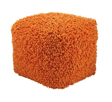"""Milo Italia Keira PF416426TM 18"""" Pouf Ottoman with Shaggy Surface, Youth Style and Cube Shape"""