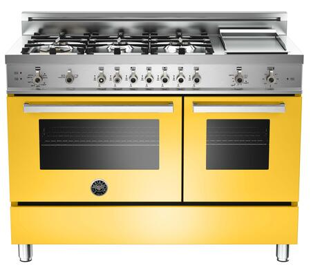 "Bertazzoni PRO486GGASGILP 48"" Professional Series Yellow Gas Freestanding Range with Sealed Burner Cooktop, 3.6 cu. ft. Primary Oven Capacity, Storage"