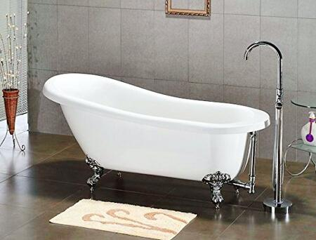 Cambridge AST6XCPRBRNZORBNH Acrylic Slipper Clawfoot Bathtub Faux Copper Bronze Finish on Exterior with No Deck Mount Faucet Drillings and Oil Rubbed Bronze Feet