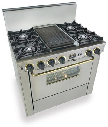 """FiveStar TTN3257BSW 36""""  Stainless Steel with Brass Handle Dual Fuel Freestanding Range with Open Burner Cooktop, 3.69 cu. ft. Primary Oven Capacity,"""