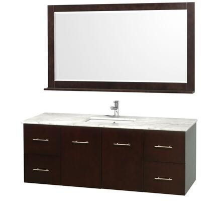 "Wyndham Collection WCVW00960S 60"" Single Wall Mount Vanity with Square Undermount White Porcelain Sink, 4 Drawers, 2 Doors, and Includes Matching Mirror in"