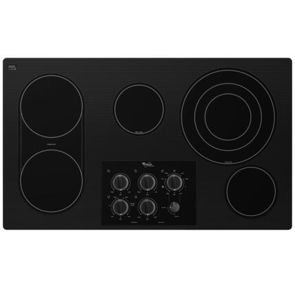 "Whirlpool Gold G7CE3655X 36"" Smoothtop Electric Cooktop With 5 Radiant Elements, Ceramic Glass Cooktop, Hot Surface Indicator Light, AccuSimmer Element, Dishwasher-Safe Knobs, In"