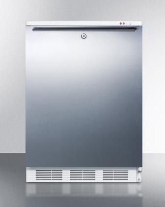 """AccuCold ALF620LBISSXX 24"""" ADA Compliant Medical All-Freezer with 3.2 cu. ft. Capacity, Manual Defrost, 3 Drawer Bins, Door Lock, and Adjustable Thermostat: Stainless Steel"""