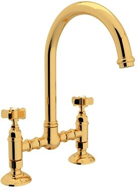 "Rohl A1461X-2 Italian Country Kitchen Collection Deck Mounted C-Spout Bridge Kitchen Faucet with 8"" Reach and Five Spoke Handles in"