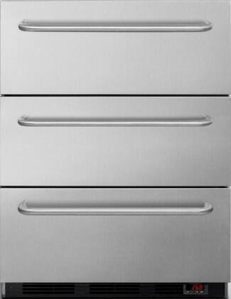 "EQTemp EQFM3DT 24"" 3 Drawer Freezer with 3.2 cu. ft. Capacity, Digital thermostat, 3 Professional Towel Bar Handles, Manual Defrost, Hospital Grade Cord, in Stainless Steel"