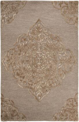 Milo Italia Raymond RG1541 X Size Rug with Medallion Design, Hand-Tufted, Wool and Viscose Blend Material and Backed with Cotton in Brown Color