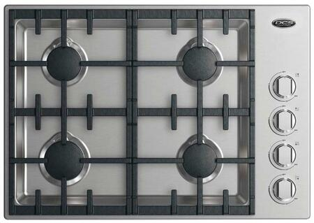 "DCS CDV2-304H 30"" Drop-In Cooktop with 4 Sealed Halo Burners, Dual Flow Burners, 20000 BTU Max Burner Power, and LED Halo Knobs Control: Stainless Steel"