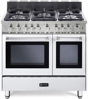 "Verona VEFSGG365DW 36"" Gas Freestanding Range with Sealed Burner Cooktop, 2.4 cu. ft. Primary Oven Capacity, Storage in White"