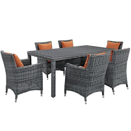Modway Summon Collection EEI-2330-GRY- 7-Piece Outdoor Patio Sunbrella Dining Set with Dining Table and 6 Armchair in