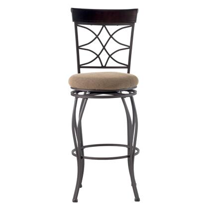 Linon 02729MTL01KDU Curves Series Residential or Commercial Microfiber Upholstered Bar Stool