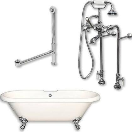 "Cambridge ADE398463PKG Acrylic Double Ended Clawfoot Bathtub 70"" x 30"" with no Faucet Drillings and Complete Plumbing Package"