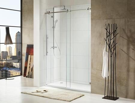 Picture of 0ASBS03-L Trident LUX - Premium 38 in 10mm Thick Clear Tempered Glass  60in W x 76 in H  Frameless Sliding Shower Door in