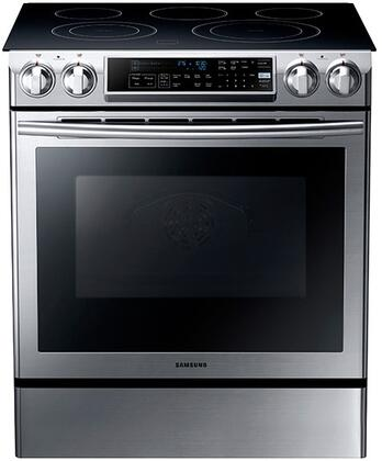"Samsung NE58F9500SS 30"" Slide-in Electric Range with Smoothtop Cooktop, 5.8 cu. ft. Primary Oven Capacity, Storage in Stainless Steel"