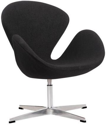 """EdgeMod Crux Collection 28"""" Accent Chair with Aluminum Swivel Base, High Density Foam Cushions, Fiberglass Frame and Wool Upholstery"""