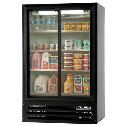 "Beverage-Air LV15-1 LumaVue 36"" Two Section Refrigerated Sliding Glass Door [Pass-Through] Merchandiser with LED Lighting, 15 cu.ft. Capacity, [Color] Exterior and Bottom Mounted Compressor"