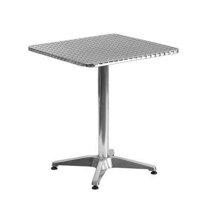 Flash Furniture TLH-053-X-GG Square Aluminum Indoor-Outdoor Table with Smooth Stainless Steel Table Top and Aluminum Column and Base