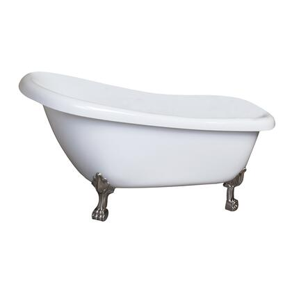 "Barclay ASN61LPEWH Grover 61"" Acrylic Roll Top Slipper Tub, Tub in White Finish, Lion Paw ClawFoot Design, No Overflow, No Faucet Holes, with Clawfoot Finish in"