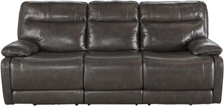 "Signature Design by Ashley U7260178 Palladum 92"" Reclining Sofa with Split Back Cushion, Piped Stitching, Metal Frame and Leather Upholstery in Metal Color"
