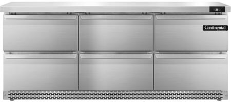 "Continental Refrigerator SW72F 72"" Worktop Refrigerator with 20.6 Cu. Ft. Storage Capacity, Front Breathing Compressor, Aluminum Interior, Interior Hanging Thermometer, and Environmentally-Safe Refrigerant, in Stainless Steel"