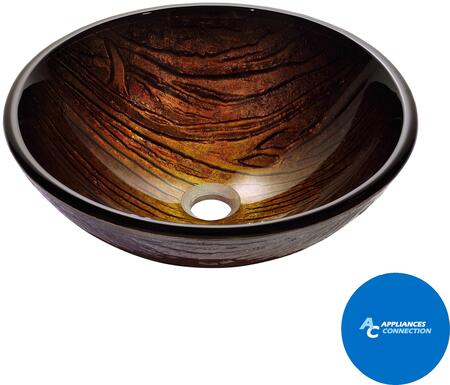"""Kraus CGV39419MM1005 Nature Series 17"""" Titania Round Vessel Sink with 19-mm Tempered Glass Construction, Easy-to-Clean Polished Surface, and Included Riviera Faucet"""