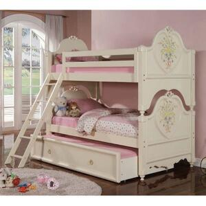 Acme Furniture 02600A Doll House Twin over Twin Bunk Bed in white cream