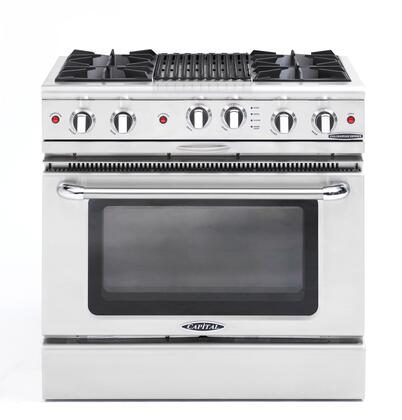 "Capital CGSR362B2L 36"" Culinarian Series Gas Freestanding Range with Open Burner Cooktop, 4.6 cu. ft. Primary Oven Capacity, in Stainless Steel"