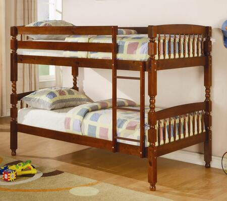 Coaster Coral Collection Twin Over Twin Bunk Bed with Built-In Ladder, Safety Guard Rails and Solid Pine Wood Construction in