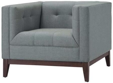 EdgeMod EM224WALLGR Huntington Series Fabric Lounge with Wood Frame in Light Grey