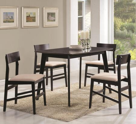 Coaster Dinettes 15034 5 PC Dining Set with 4 Chairs, Square Table, Fabric Upholstered Seats, Curved Backrests, Asian Hardwood and Okume Veneer Material in