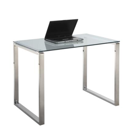Chintaly 6931DSK Clear Glass Computer Desk with Stainless Steel Base