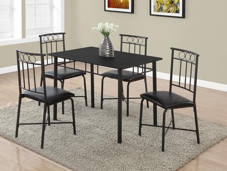 "Monarch I 101Y 40"" 5 PCS Dining Set with Leather Material, Square Legs and Upholstered Chairs"