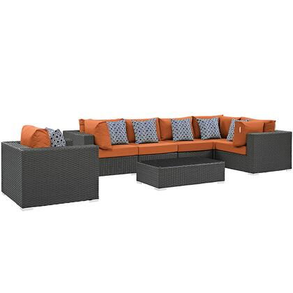 Modway Sojourn Collection EEI-2374-CHC- 7-Piece Outdoor Patio Sunbrella Sectional Set with Armchair, Coffee Table, 3 Corner Sections and 3 Armless Chairs in